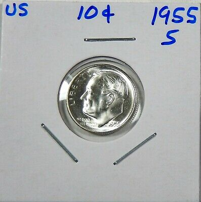 1955-S Roosevelt Dime 90% Silver Gem - Low Shipping