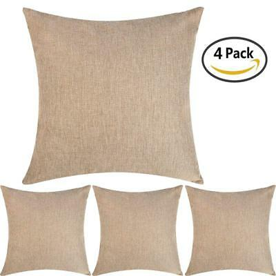 DEZENE Stylish Linen Throw Pillow Covers - Set of 4 - Soft and Exquisite Sofa x