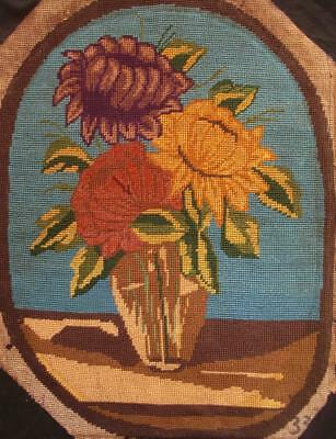 "VINTAGE COMPLETED COTTON NEEDLEPOINT FLOWERS VASE 20""x15"""