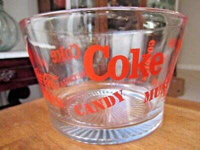 "Coca Cola, Large Glass Bowl for Munchies, Popcorn, Candy, etc. 7.5"" diameter"
