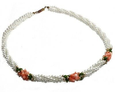 Vintage Floral Necklace • Multi-Strand White Faux Pearl Pink Chip Bead Necklace