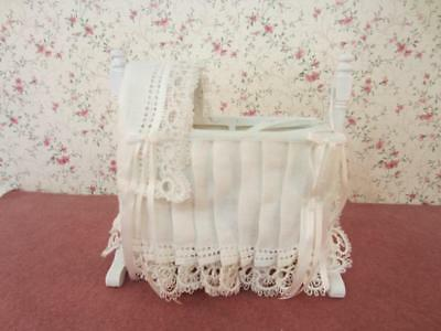 Miniature Baby Cradle / Bassinet / Crib / Bed - Dollhouse Artist 1:12 scale
