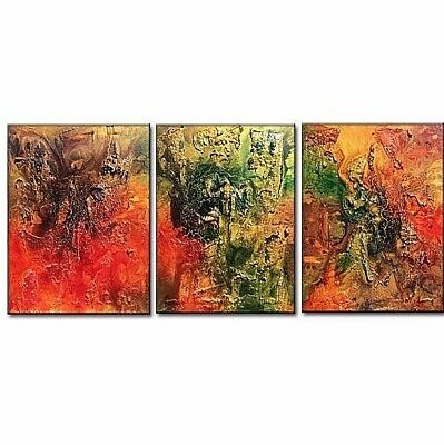 Huge Original Abstract Painting, Textured Metallic Art by Henry Parsinia 54x20