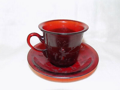Chinese Antique Ruby Red Peking Glass Cup and Saucer with Flower Etching Design