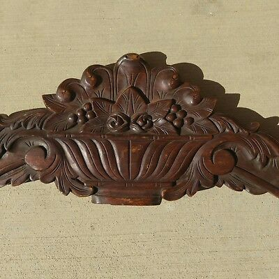 """40"""" Ornate Antique Carved Architectural Salvage Crown Molding Gingerbread Floral"""