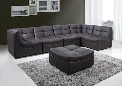 Modern Design Bonded Leather 6pc Cloud Modular Brown Sectional Sofa Couch Living