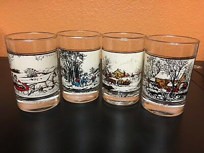 CURRIER AND IVES Arbys Christmas Tumblers Glasses 1981 Complete Set of 4 GREAT