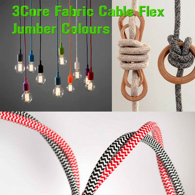Vintage Color 3 core braided fabric cable flex wire electric light 0.75mm