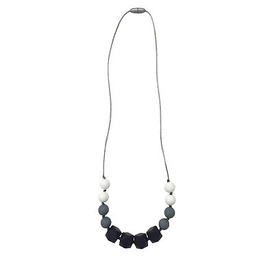 Itzy Ritzy Teething Happens Silicone Necklace Petite Strand, Black & White NEW