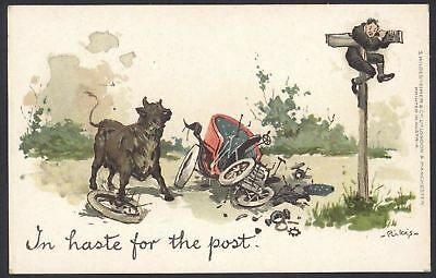 """Early Motoring Humour by Pirkis """"In Haste For The Post"""" Unused Vintage Postcard"""