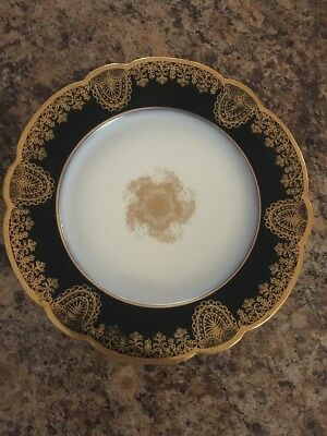 Antique Limoges China Wm. Guerin France Plate Blue heavy Gold Scallop Gold Edge