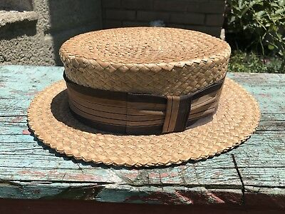 Antique Victorian 1890s Panama Straw Boater Skimmer Hat Size 7 1/4 Head Culture
