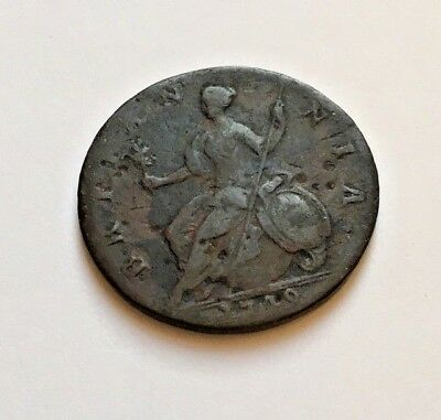 U.s. Colonial 1748 George Ii British 1/2 Penny Used In The American Revolution