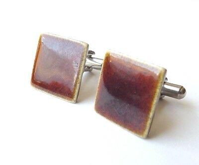 Vintage Cufflinks Brown Ceramic Glazed Tile Faces FREE P&P
