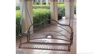 Rustic Porch Swing Single Seat Hanging 1 Person Patio Swinging Bench Metal New