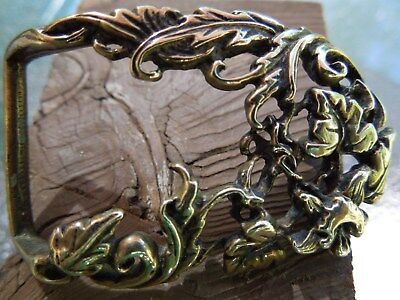 Vintage Belt Buckle Brass With Filigree Leaves  For A Thin Belt Handforged?