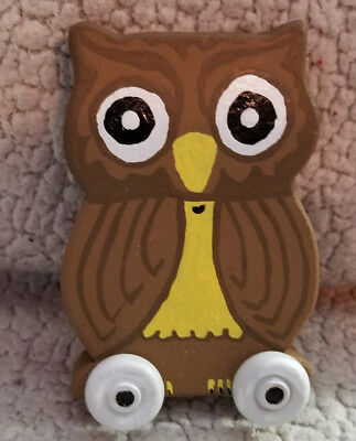 Wooden Handmade/Painted Wise Old Owl Toy Car Ages 3+ Safe Paint