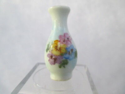 Dollhouse Miniatures ~ Ni Glo Hand Painted Pansy Vase ~ Porcelain Tall Vase