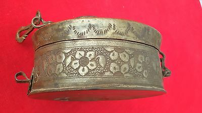 ANTIQUE COPPER 1800s MUGHAL RARE HANDCARVED BEAUTIFUL JEWELLERY KEEPING  BOX