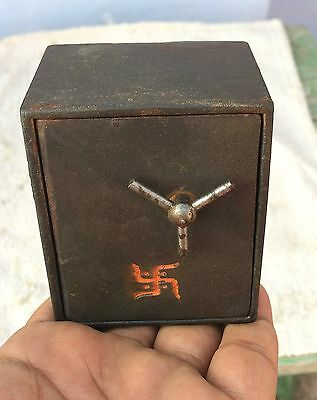1920s Vintage Original Old Scarce Swastika Engraved Miniature Iron Safe Locker