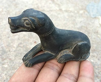 Antique Rare Beautiful Handmade Black Stone Dog Holding Ball In His Mouth Figure