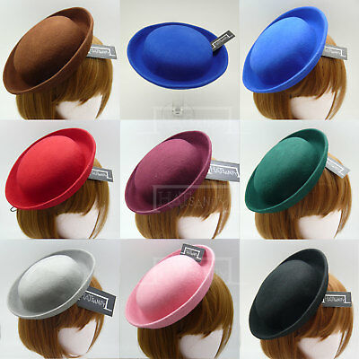 FASHION Wool Felt Women Fascinator Mini Bowler Hat | Black Grey Red Green Blue