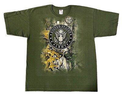 484a12fa9 1X Olive Realtree US Army Camo Graphic Front Short Sleeve T-Shirt XLARGE