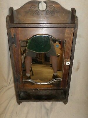 Antique WALL MOUNT WOOD MEDICINE CABINET with MIRROR