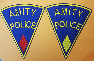 Jaws Movie Amity Police Uniform Red & Yellow Diamond Patch Set (2) 5 inches tall