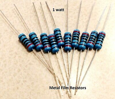 1 Watt 1% Tolerance Metal Film Resistor (20 Pieces) PICK THE VALUE YOU WANT !!