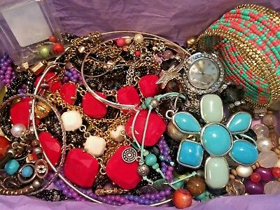 VINTAGE NOW ESTATE JUNK DRAWER LBS JEWELRY LOT Untested Necklaces TURQUOISE RED