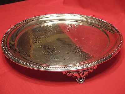452 gram JOSIAH WILLIAMS 1889 SOLID SILVER TRAY / SALVER WITH CHASED DECORATION