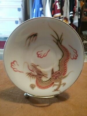 Vintage Kutani China Hand-Painted Saucer With Golden Dragon  Made In Japan