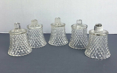 6 Homco Clear Diamond Point Votive Candle Holders Peg Cups