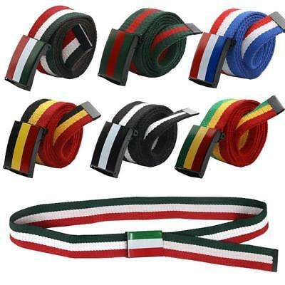 Mens Unisex Country Flag Webbing Canvas Fabric Belt Free Size Buckle Army Style