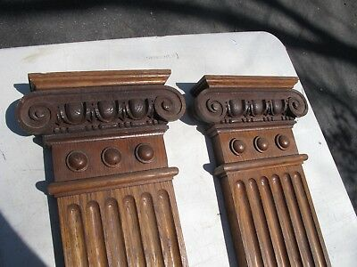 2 Vintage Antique Architectural Ionic Oak Pillars Exceptional