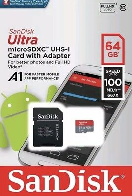 64GB SanDisk Ultra Memory Card Micro SD SDXC 100MB/s 667x Class 10 With Adapter