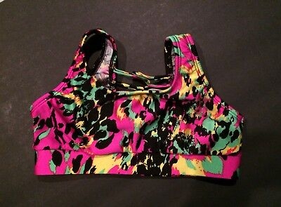 Body Wrappers Girls Dance Neon Leopard Halter Top Size 8-10 & A Cropped Top