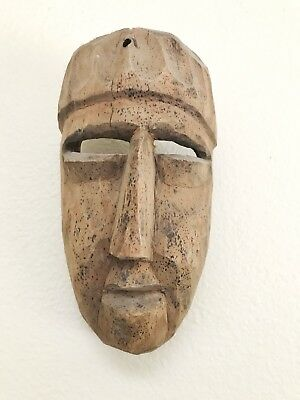 Antique primitive wood carved mask native tribal African art sculpture decor