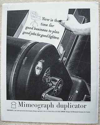 Vintage 1943 Mimeograph Duplicator Ad Office Copier A B Dick Co Chicago
