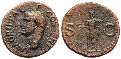 FORVM VF Agrippa AE29 As Struck by Caligula Neptune Holding Dolphin and Trident