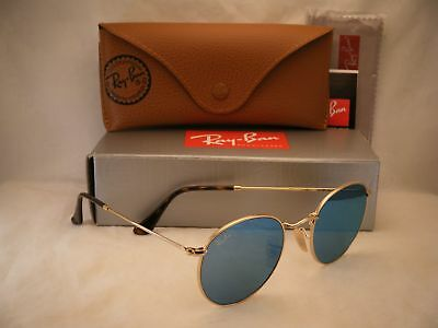 6c11919ded Ray Ban 3447N Round Metal Shiny Gold w Light Blue Mirror (RB3447N 001 9O