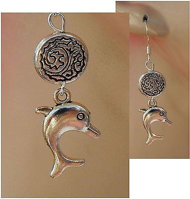 Dolphin Earrings Charm Drop Dangle Handmade Jewelry NEW Hook Accessories Silver