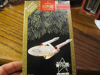 1991 Keepsake Ornament Star Trek Starship Enterprise Magic Blinking Lights  #STA
