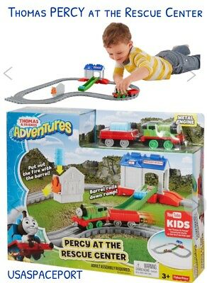 THOMAS & Friends Train Metal Engine PERCY at the RESCUE CENTER Set Track Cars FP