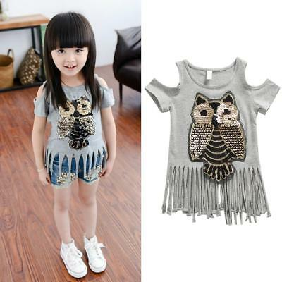 ad0e5f325a80e Summer Kids Baby Girl Cotton Short-sleeved T-shirts Owl Sequins Tassel Baby  Tops