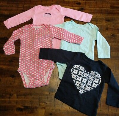 Baby Infant Girl Carter's Long Sleeve Shirts Set of 4 Size 6 Months
