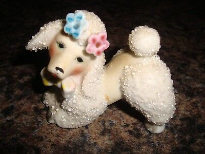 Vintage Poodle Dog Figurine With Sugar Texture