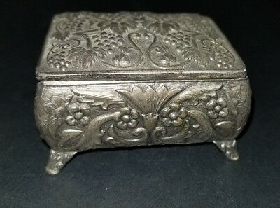 Antique  Decorative metal Trinket Box w. Carved  Design STUNNING LINED IN RED