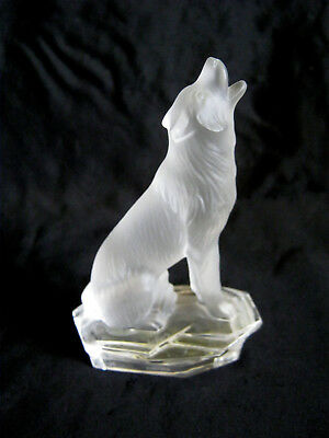 "GOEBEL CRYSTAL COLLECTION Frosted Howling Baying 4 1/4"" WOLF FIGURINE Ex Cond"